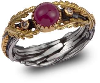 Emma Chapman Jewels - Lattice Ruby & Diamond Gold Ring