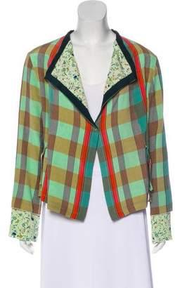 Etro Silk Check & Floral Print Jacket