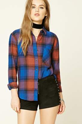Forever 21 Button-Down Plaid Cotton Shirt