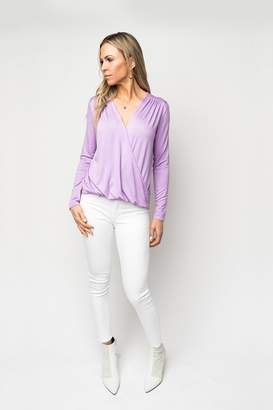 Gibson Mallory Long Sleeve Soft Knit Wrap Top