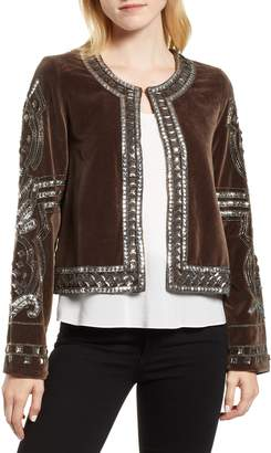 Velvet by Graham & Spencer Velvet Beaded Jacket