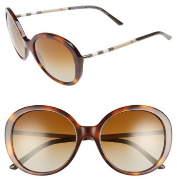 Women's Burberry 57Mm Check Temple Polarized Round Frame Sunglasses - Blonde