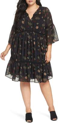 Lucky Brand Swiss Dot Floral Dress