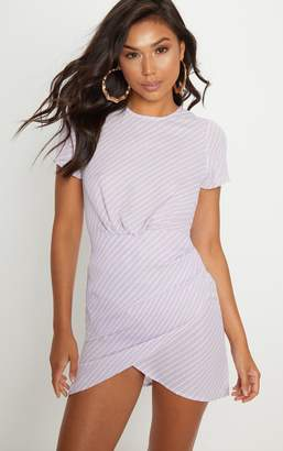 PrettyLittleThing Lilac Stripe Asymmetric Wrap Shift Dress