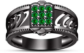Splendid TVS-JEWELS Engagement Ring Black Rhodium Plated 925 Silver Awesome Sapphire In Round Cut