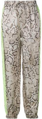 Pinko snakeskin print drawstring trousers