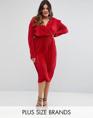 Club L Plus Plisse Wrap Pencil Dress $46 thestylecure.com