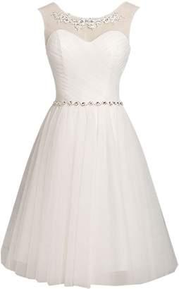 Oumans Women's Short Bridesmaid Dress Lace Appliques Beads Evening Dress US