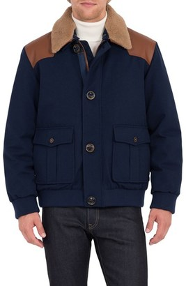 Men's Rainforest Tenakee Bomber Jacket With Genuine Shearling Collar $450 thestylecure.com