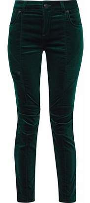 Pierre Balmain Cropped Stretch Cotton-Velvet Skinny Pants