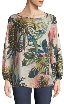 Fuzzi Jungle-Print Blouson-Sleeve Blouse