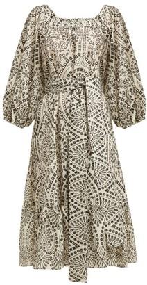 Lisa Marie Fernandez Laure Broderie Anglaise Cotton Dress - Womens - White Black