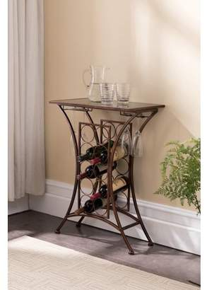 Pilaster Designs Tanner Brushed Copper Metal & Black Tempered Glass Transitional Wine Rack With 10 Bottle & Glass Holders Organizer Display Stand