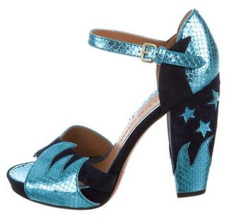 Marc by Marc Jacobs Metallic Ankle Strap Sandals $95 thestylecure.com