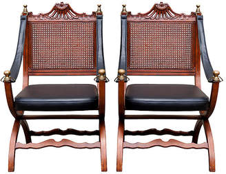 One Kings Lane Vintage Italian Caned-Black Leather Chairs - Set of 2