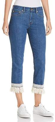 Tory Burch Connor Fringe-Trimmed Straight Crop Jeans in Stonewash
