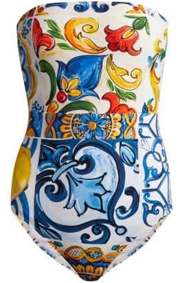 Dolce & Gabbana Majolica Print Swimsuit - Womens - Blue Multi