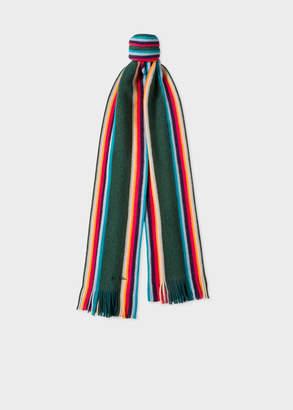 Paul Smith Men's Dark Green 'Artist Stripe' Band Merino Wool Scarf