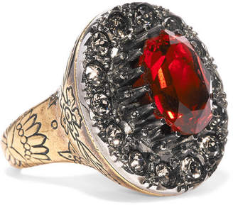Alexander McQueen Gold-tone And Crystal Ring - Red