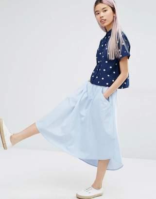 Monki Chambray Midi Skirt