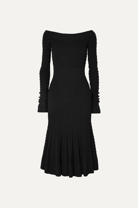 Alexander McQueen Off-shoulder Cable-knit Wool-blend Dress - Black
