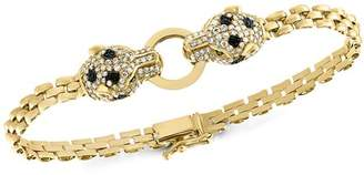 Bloomingdale's Black & White Diamond Panther Bracelet in 14K Yellow Gold - 100% Exclusive