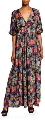 Trina Turk Arco Iris Butterfly Puff-Sleeve Maxi Dress