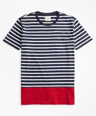 Brooks Brothers Striped Color-Block Cotton Jersey T-Shirt