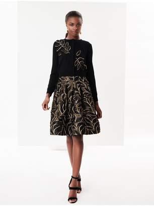 Oscar de la Renta Lurex Leaf Cloque Skirt