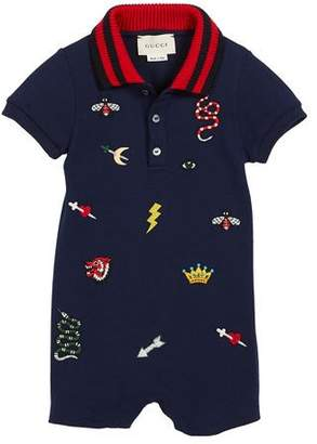 Gucci Short-Sleeve Icon Embroidery Polo Shortall w/ Knit Collar, Size 3-24 Months
