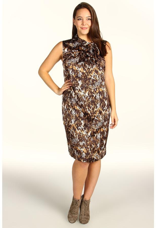 Klein Plus Anne Plus Size Snakeskin Print Sleeveless Dress (Cappuccino Multi) - Apparel
