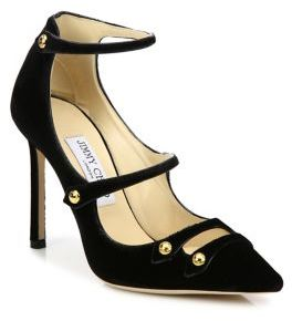 Jimmy Choo Jimmy Choo Lacey 100 Velvet & Patent Leather Point-Toe Pumps