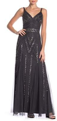 Marina V-Back Beaded Gown