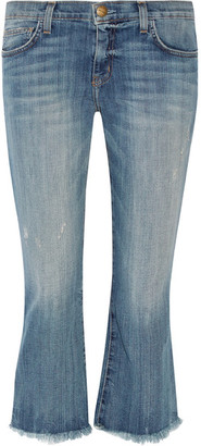 Current/Elliott - The Cropped Flip Flop Frayed Low-rise Flared Jeans - Mid denim $230 thestylecure.com