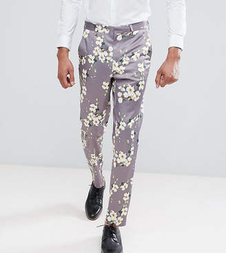 Asos Design TALL Wedding Skinny Crop Smart Pants With Light Grey Floral Print