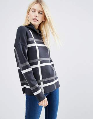 Asos Design Jumper In Check With High Neck