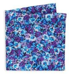 Saks Fifth Avenue COLLECTION Pansy-Print Silk Pocket Square