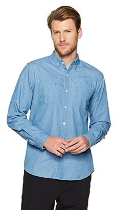 Wood Paper Company Men's Long Sleeve Regular Fit 2-Pocket Button-Down Collar Cotton Denim Shirt