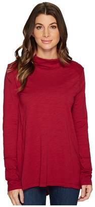 Mod-o-doc Slub Jersey Long Sleeve Turtleneck Tee with Back Slit Women's T Shirt