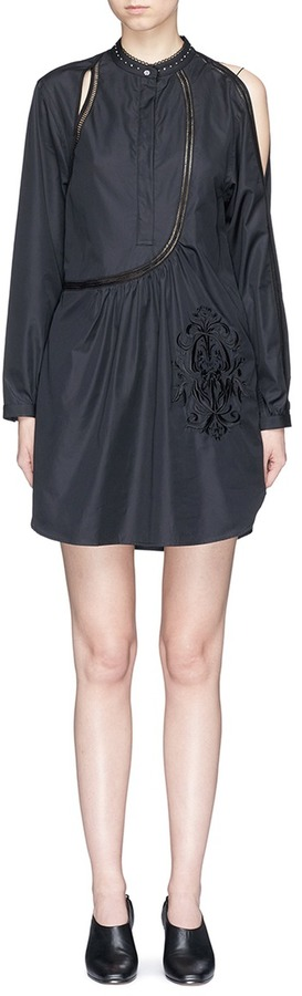 3.1 Phillip Lim 3.1 Phillip Lim Victoriana crest embroidered cutout poplin tunic