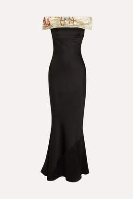 Giorgio Armani Embellished Off-the-shoulder Silk-blend Satin Gown - Black