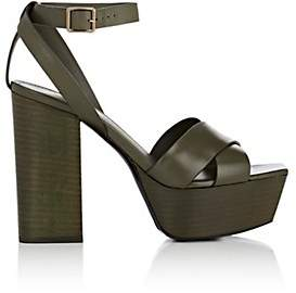 Saint Laurent Women's Farrah Leather Platform Sandals - Dk. Green