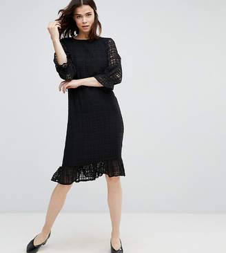 Y.A.S Tall Lace Grid Dress With Peplum Hem