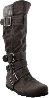 Generation Y Womens Knee High Boots Ruched Suede Knitted Calf Buckles Rubber Sole SZ 7.5