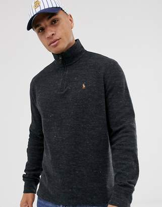 Polo Ralph Lauren half zip knitted jumper in charcoal marl with multi player logo