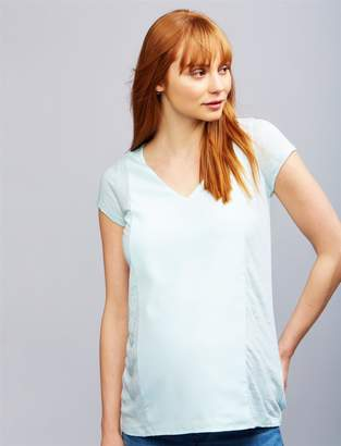 A Pea in the Pod Linen Woven Combo Maternity Top