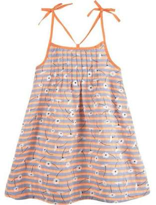 G-Cutee Newborn Baby Girls' Neon Orange Floral Dress with Shoulder Ties