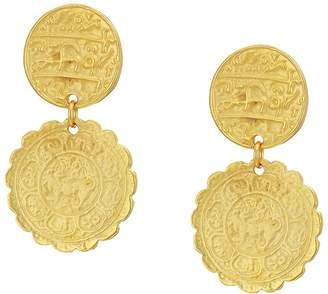 Kenneth Jay Lane Satin Gold Textured Coin Top Drop Pierced Earrings Earring