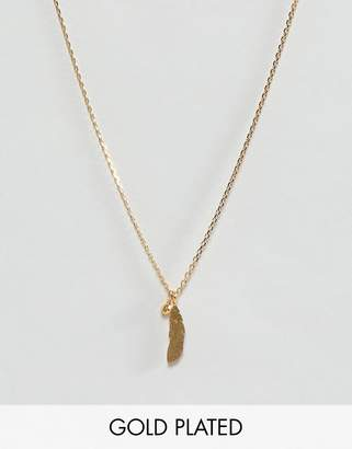 Dogeared Gold Plated Light as a Feather Pendant with Sparkle Necklace