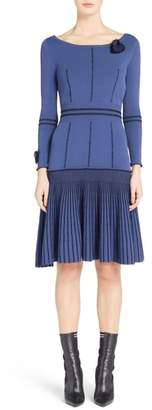 Fendi Knit Drop Waist Dress with Genuine Mink Fur Trim